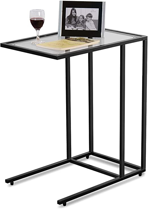 "Glass Side Tables for Bedroom Tangkula 26"" sofa Side Table Snack Table solid Glass Heavy Duty Portable Living Room Bedroom Couch C Table End Table Laptop Desk Coffee Tray"