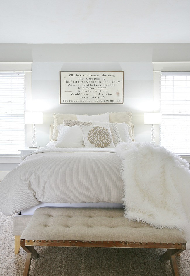 Gray and White Bedroom Gray and White Farmhouse Bedroom Makeover