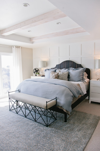 Gray and White Bedroom Gray and White Master Bedroom Transitional Bedroom