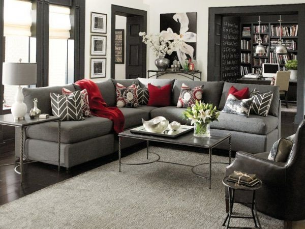 Gray Living Room Decor Ideas I Love the Grey with Pops Of Color and Dark Accents