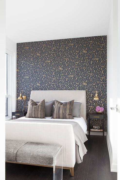 Grey Accent Wall Bedroom Gray Headboard On Gold and Black Accent Wall Contemporary