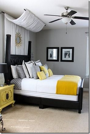 Grey and Yellow Bedroom Decor Drape A Curtain Over the top Of the Bed Thinking the