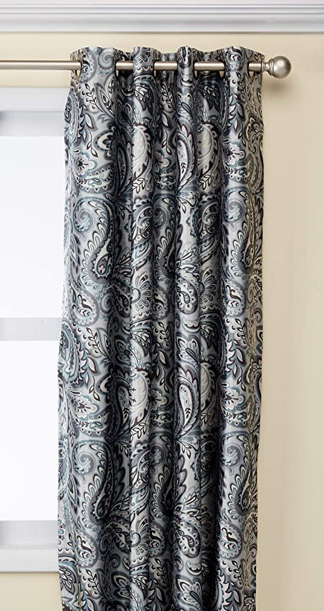 Grey Curtains for Bedroom Blackout Curtains for Bedroom Traditional Grommet Grey Window Curtains for Living Room Family Room Jenelle Paisley therma Black Out Window Curtain