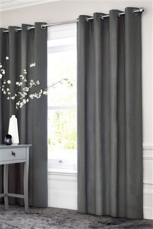 Grey Curtains for Bedroom Charcoal Cotton Blackout Eyelet Curtains
