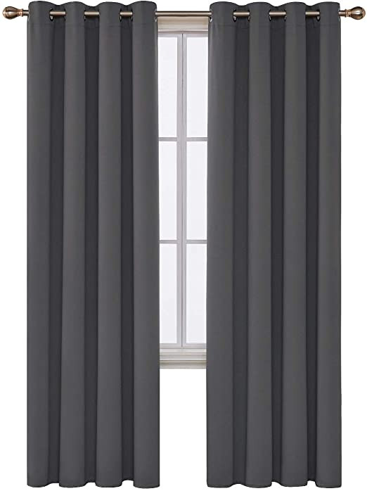 Grey Curtains for Bedroom Deconovo Blackout Curtain for Bedroom 52 by 95 Inch Dark Grey