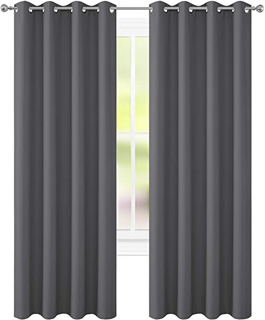 Grey Curtains for Bedroom Floweroom Room Darkening Blackout Curtains for Bedroom 2 Panels 52 X 96 Inch Grey
