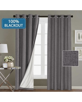 Grey Curtains for Bedroom H Versailtex Blackout Waterproof Indoor Outdoor Curtains Home Decorations Linen thermal Insulated solid Grommet top Blackout Living Room