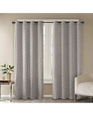 Grey Curtains for Bedroom Madison Park Grey Curtains for Living Room Modern Contemporary Grommet Room Darkening Window Curtains for Bedroom Odella Geometric Velvet Window