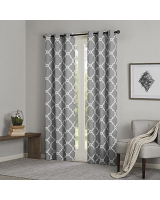 Grey Curtains for Bedroom Madison Park Grey Curtains for Living Room Modern Contemporary Silver Room Darkening Window Curtains for Bedroom Merritt Geometric Modern Grommet