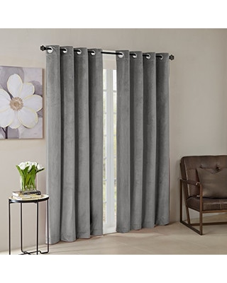 Grey Curtains for Bedroom Madison Park Madison Park Grey Living Modern Contemporary Grommet Room Darkening Bedroom Monroe solid Velvet Window Curtains 50x95 1 Panel Pack