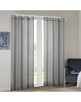 Grey Curtains for Bedroom Madison Park Madison Park Grey Sheer Curtains for Bedroom Kina Geometric Grommet Sheer Curtain for Living Room Rayon Polyester Modern Curtain