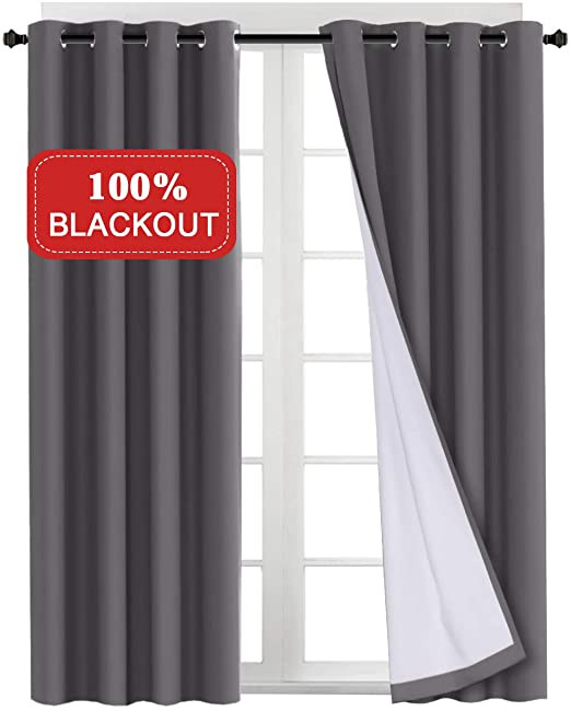 Grey Curtains for Bedroom Turquoize Blackout Grey Curtains for Bedroom Waterproof Cotton thermal Insulated Lined Curtain with White Liner for Living Room Window Treatment