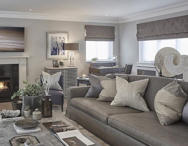 Grey sofa Living Room Decor Grey Blue and Taupe In the Rustic Chic Esher Project