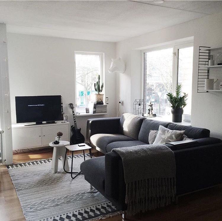 Grey sofa Living Room Decor Ikea Nockeby Dark Grey Corner Lounge Ikea