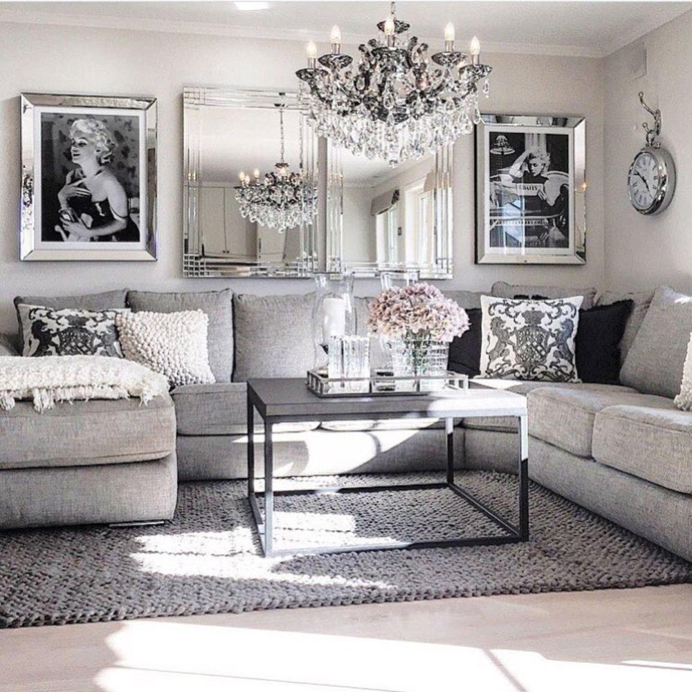 Grey sofa Living Room Decor Modern Glam Living Room Decorating Ideas 19