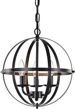 Hanging Light for Bedroom American Stley Vintage Industrial Metal Globe Pendant Light