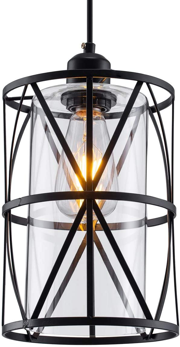 Hanging Light for Bedroom Shengqingtop Black Industrial Metal Pendant Light Cylindrical Pendant Light with Clear Glass Shape New Transitional Hanging Lighting Fixture for