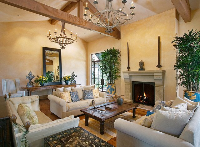 Homey Traditional Living Room andalusian Custom Home Traditional Living Room Other