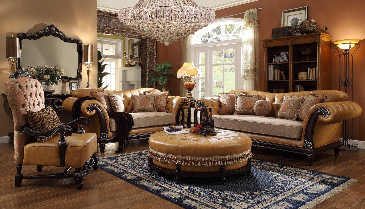 Homey Traditional Living Room Homey Design Faux Leather 6 Pc Traditional Living Room Set