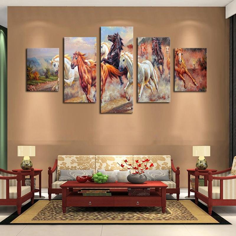Horse Decor for Living Room 2017 5 Panel Wall Art Horses Painting Colorful Horse