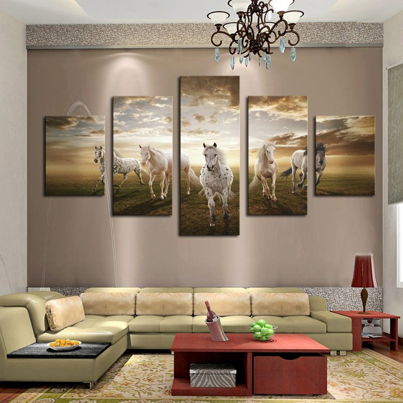 Horse Decor for Living Room 5 Pieces Home Decor for Living Room Running Horse Modern