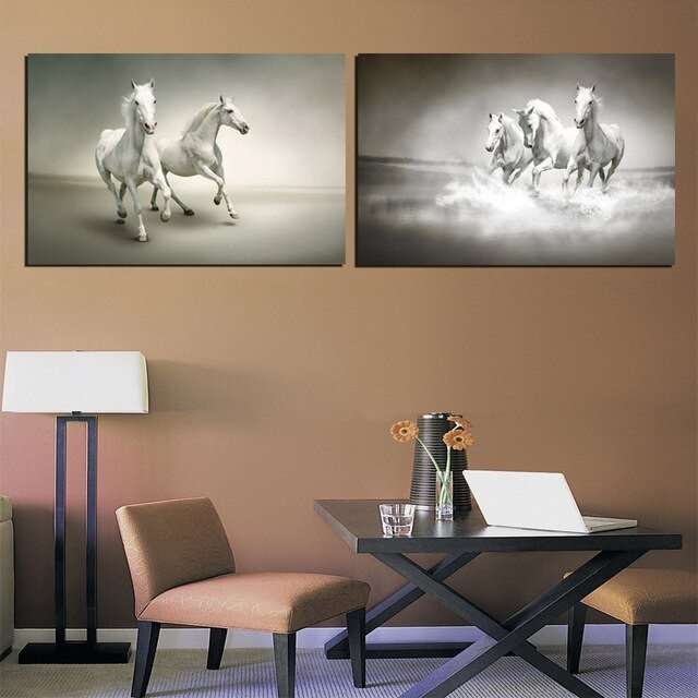 Horse Decor for Living Room Galloping White Horse Wall for Living Room