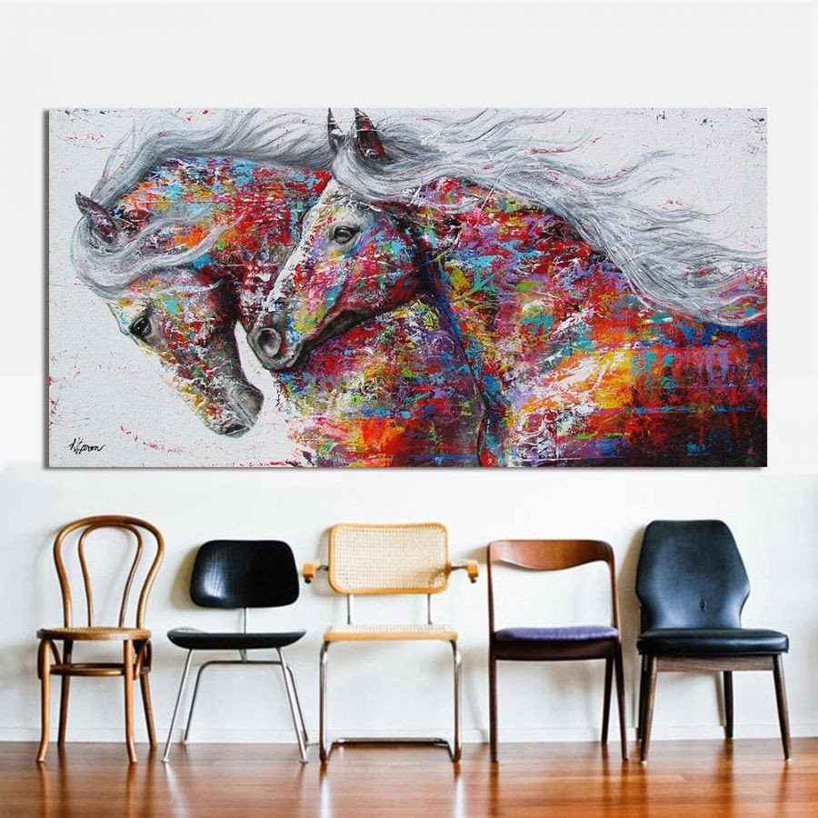 Horse Decor for Living Room Two Running Horse Wall Art for Living Room Home