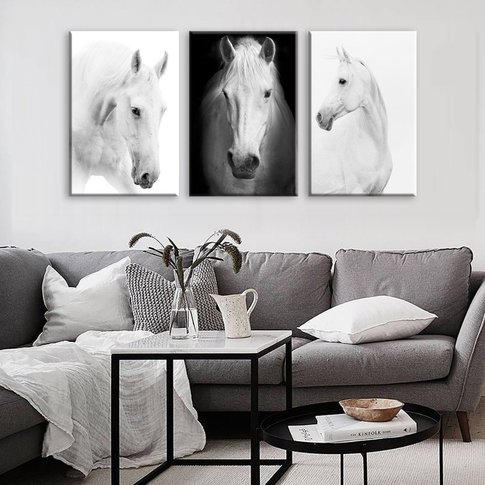 Horse Decor for Living Room White Horse Wall Art Canvas Prints Modern Art Home Decor