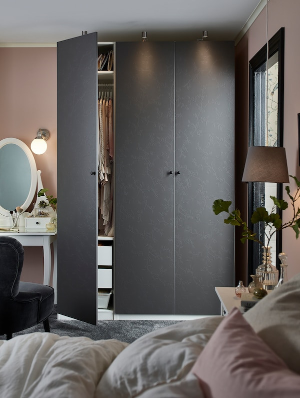 Ikea Bedroom Furniture Wardrobes Pax Wardrobe White Flornes Dark Grey 150x60x236 Cm