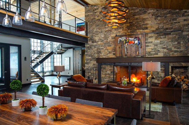 Industrial Contemporary Living Room Caldera Rustic Modern with A Twist Industrial