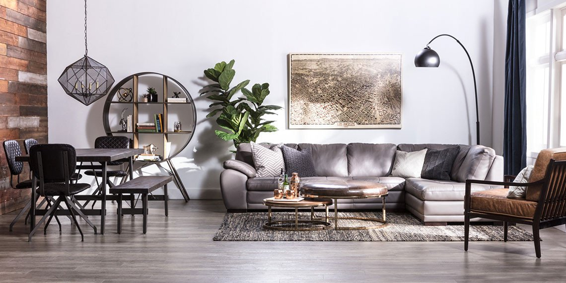 Industrial Contemporary Living Room Industrial Living Room with Vaughn Granite Sectional