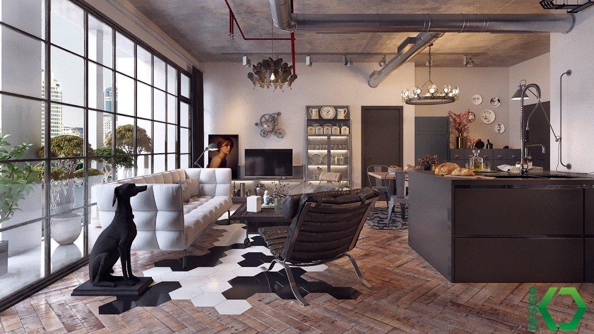 Industrial Contemporary Living Room Join the Industrial Loft Revolution