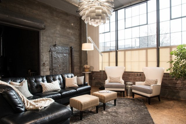 Industrial Contemporary Living Room Modern City Condo Industrial Living Room St Louis