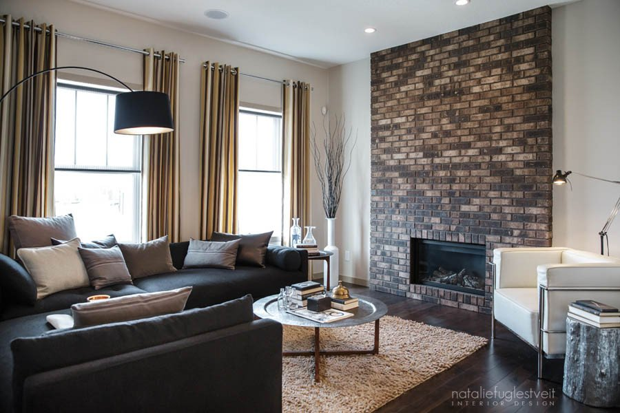 Industrial Contemporary Living Room Stripes Brick & Metal Industrial Modern Living Room by