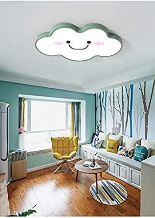 "Kids Bedroom Ceiling Light Litfad Modern Dimmable Ceiling Light 19 68"" Wide Ultralight Cartoon Creative Personality Smile Face Design Led Flush Mount Pendant Light In Green"