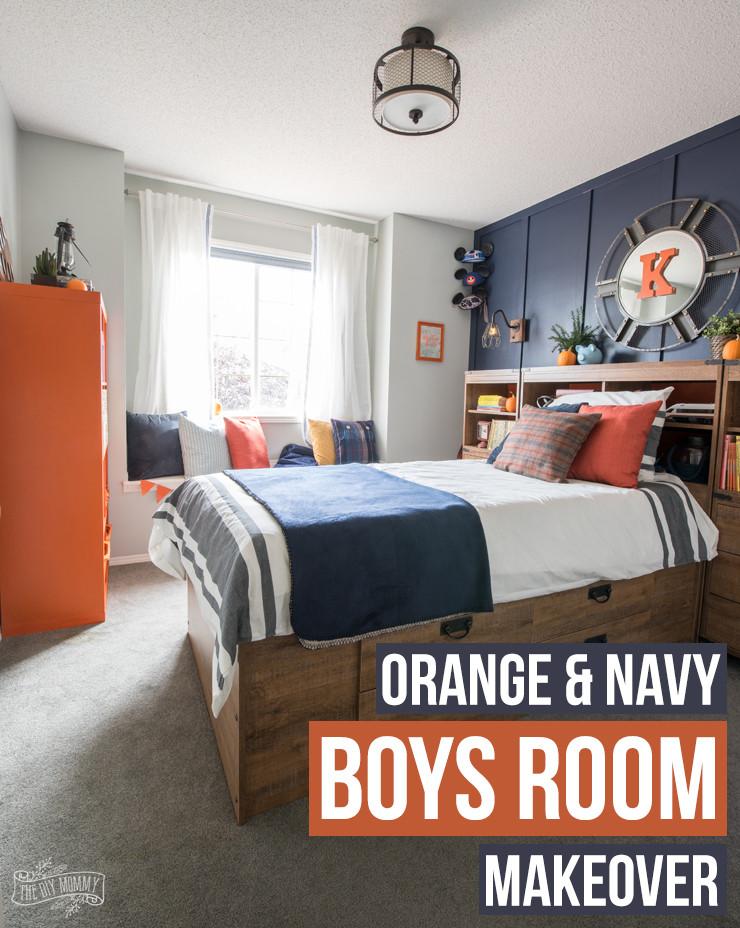 Kids Bedroom for Boy A Modern Navy & orange Nautical Kids Room Makeover