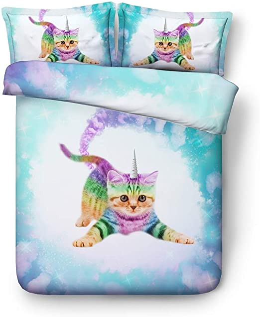 King and Queen Bedroom Decor Amazon Unicorn Cat Duvet Cover Twin Girls Galaxy