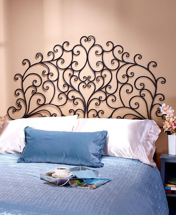 King and Queen Bedroom Decor Headboard Queen or King Wall Mounted Metal Scroll Medallion Bedroom Decor Light