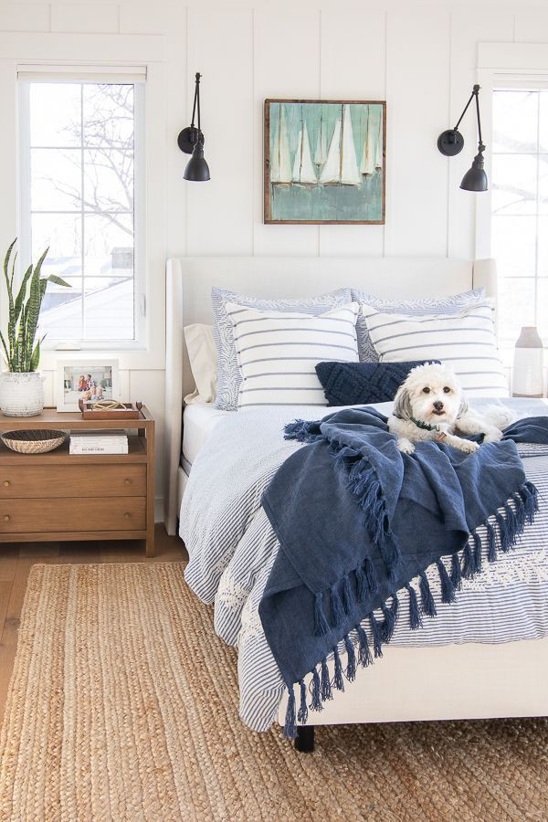 Lake House Decorating Ideas Bedroom White and Blue Lake House Master Bedroom