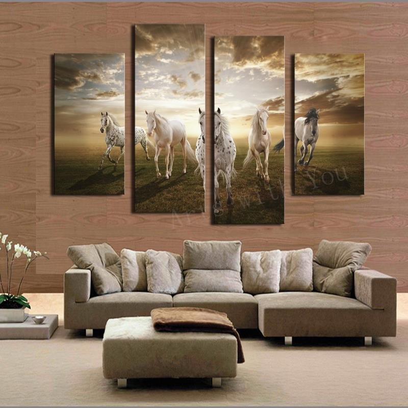 Large Living Room Wall Decor 2017 Real Paintings Unframed Running Horse Hd Home