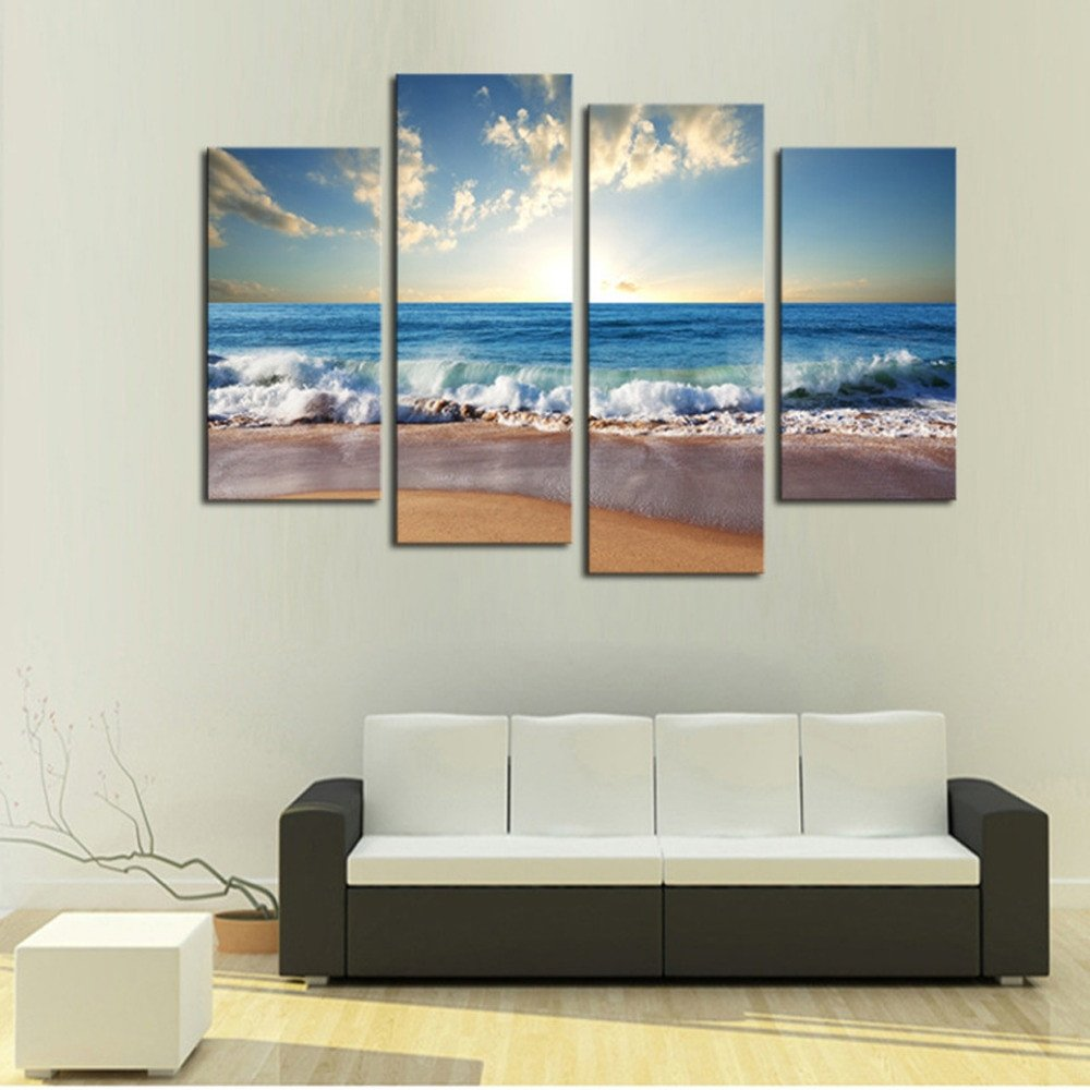 Large Living Room Wall Decor 4 Panels Sand Beach Hd Canvas Print Painting for