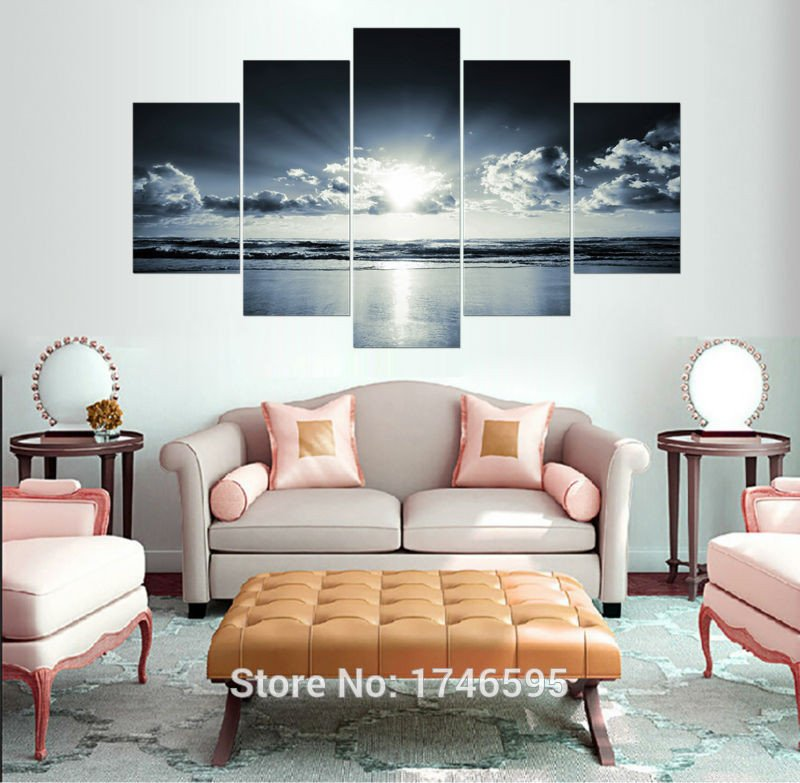 Large Living Room Wall Decor Big Size Modern Home Decor Painting White Black Ocean
