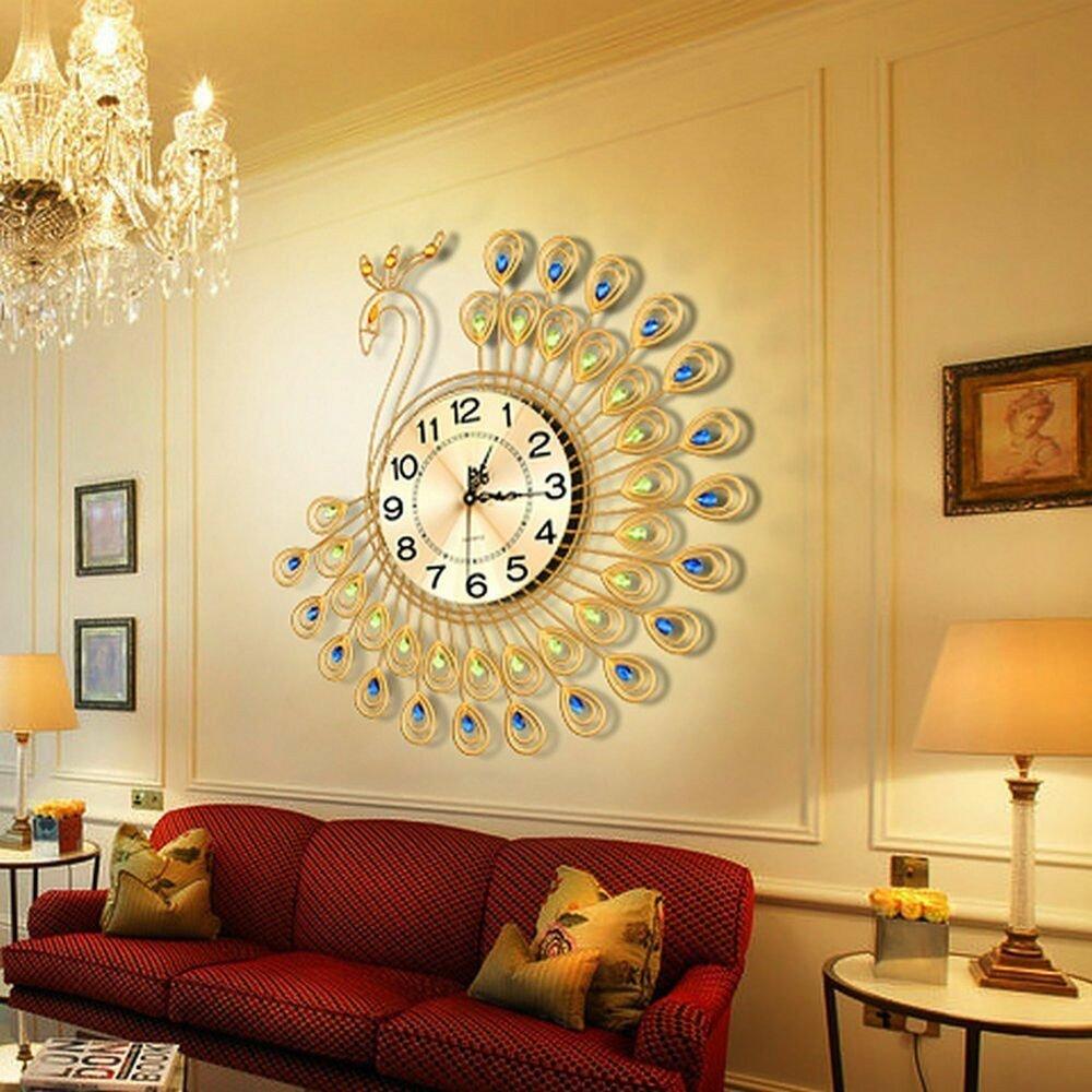 Large Living Room Wall Decor Creative Home Decor Gold Peacock Wall Clock Metal
