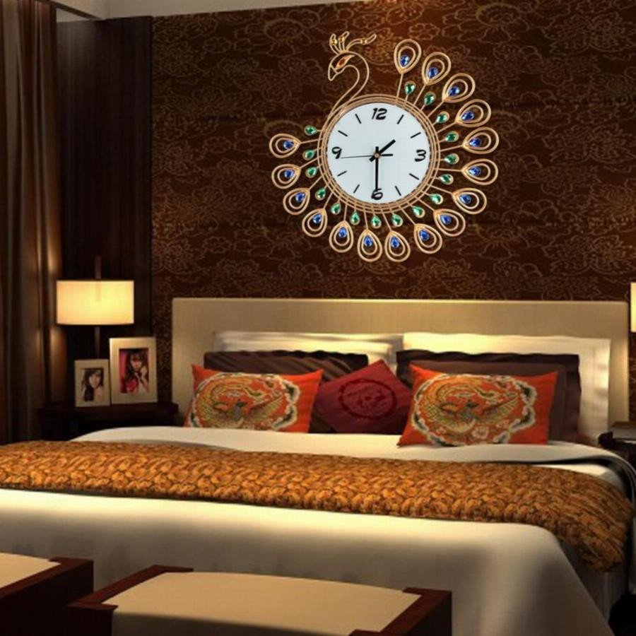 Large Living Room Wall Decor Cu3 Luxury Diamond Peacock Wall Clocks Metal Living