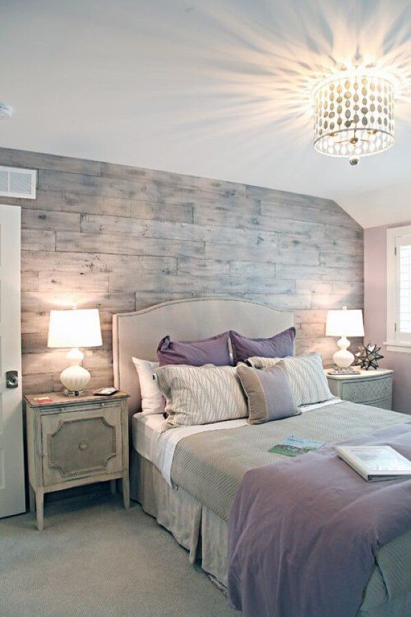 Lavender and Gray Bedroom Textures and soft Lavender Color Pops Set the Mood In This