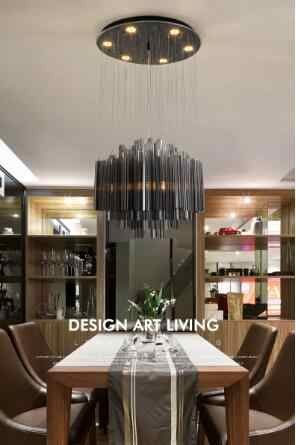 Led Lighting for Bedroom Black Post Modern Crystal Chandelier Restaurant Light Round