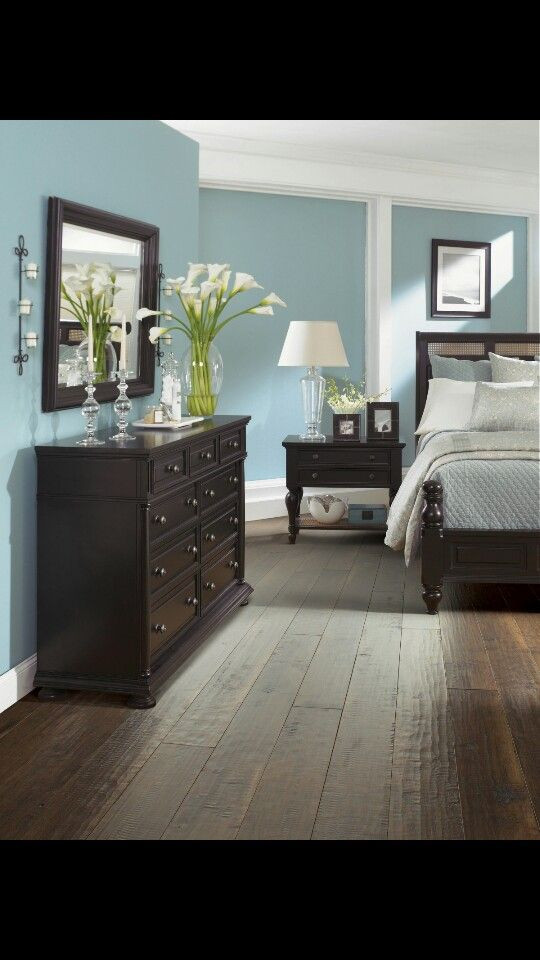 Light Wood Bedroom Furniture Dark Furniture Blue Walls Wood Floors I Love This