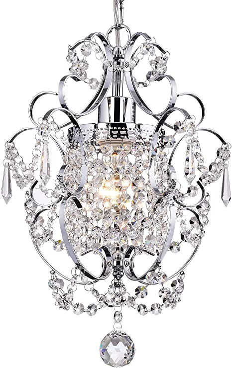 Little Girl Chandelier Bedroom Crystal Mini Chandelier Lighting 1 Light Chrome Chandeliers Iron Ceiling Light Fixture