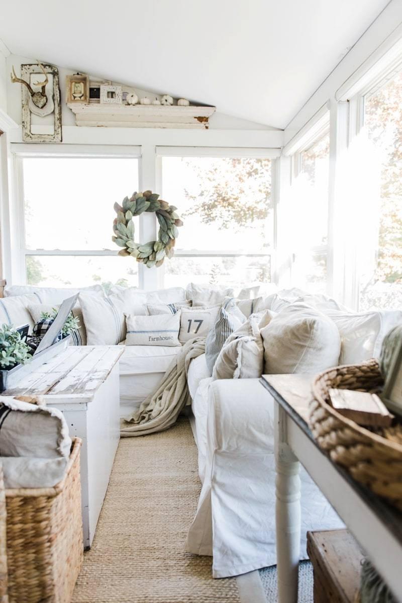Living Room Art Decor Ideas Cozy Farmhouse Fall Sunroom