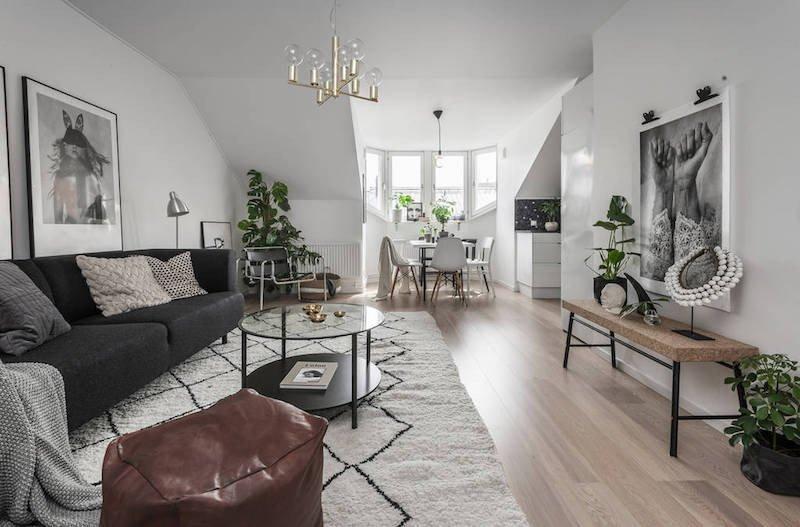 Living Room Decor Ideas Apartment Earthy Interior Design Of A Pact Scandinavian Apartment